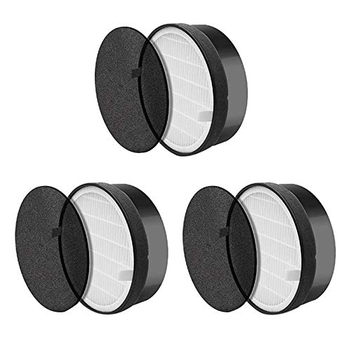 PUGONGYING Popular -3-Piece Filter Fit For Levoit LV-H132 LV-H132-RF Air Purifier, Real HEPA And Activated Carbon Filter Kit durable (Color : Black white)