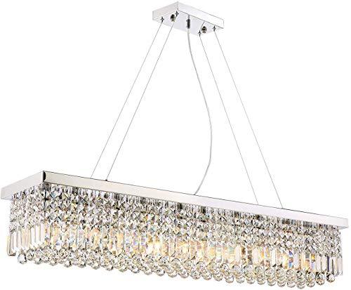 BUNUMO Candelabros de Cristal rectangulares Luminaria Colgante Moderna con Forma de Gota de Lluvia para Comedor L120 X W25 X H22cm