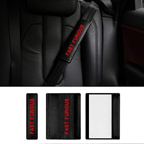 Guaine per Cintura di Sicurezza, Protezioni per Cintura di Sicurezza Auto per Phaeton Scirocco Cabriolet Tiguan con Fast Furious Adesivi Rossi Confezione da 2