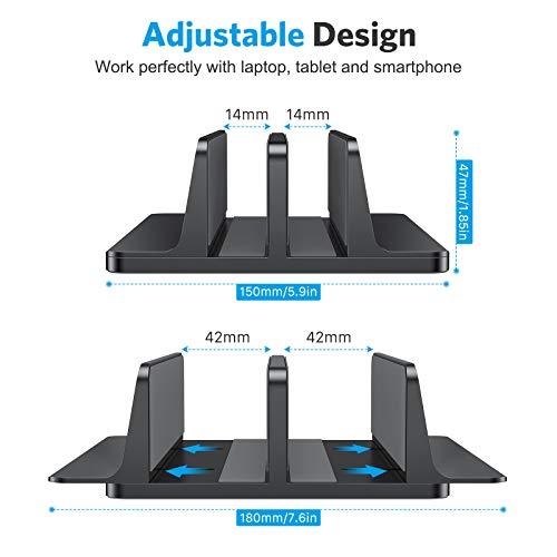 OMOTON platzsparend Laptopständer, Verstellbarer vertikaler Alulegierung Laptop Ständer für alle Tablets und 10-17.3 Zoll Laptops, z.B MacBook, Lenovo, Dell und mehr- Geeignet für 2 Laptops- Schwarz