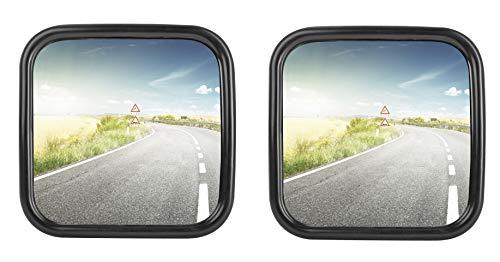 2x LKW, Transporter oder Bus Spiegel universal 18 x 18 cm Größe mit flexibler Halterung SET