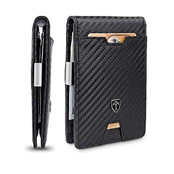 TRAVANDO Mens Slim Wallet with Money Clip AUSTIN RFID Blocking Bifold Credit Card Holder for Men with Gift Box  Carbon