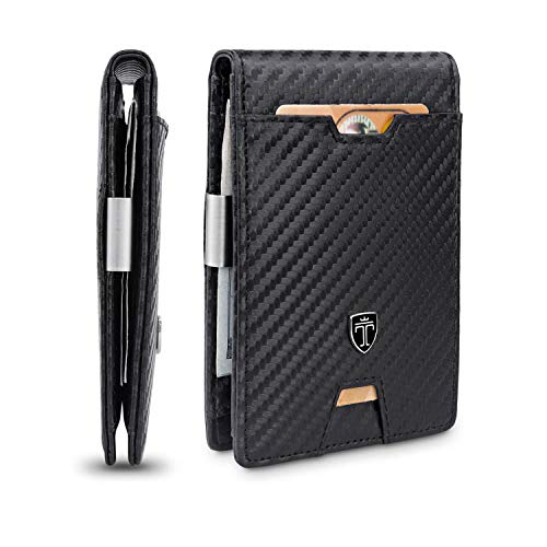 TRAVANDO Mens Slim Wallet with Money Clip AUSTIN RFID Blocking Bifold Credit Card Holder for Men with Gift Box (Carbon)