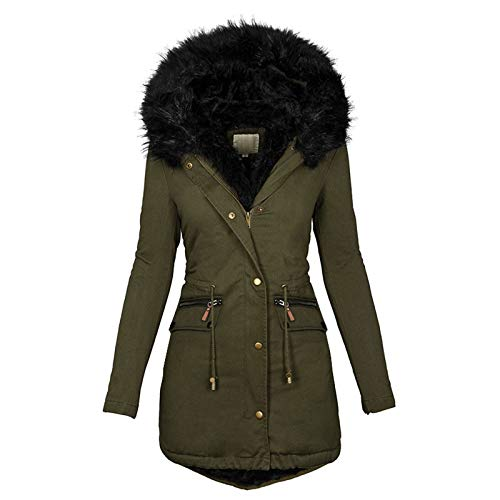 OutTop Womens Quilted Winter Coats Warm Fleece Lined Faux Fur Hooded Zip Up Down Jackets Parka Outwear with Pocket (Green, M)
