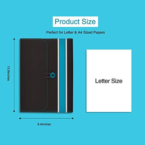 Sooez Expanding File Folder Paper Organizer with Sticky Labels, 13 Pockets File Organizer Accordion File Organizer, Letter/A4 Paper/Document Folder Organizer, File Folder Organizer File Holder, Red Photo #2