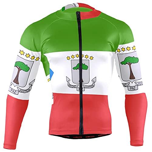Magnesis Camiseta de manga larga con la bandera de Guinea Ecuatorial para hombre