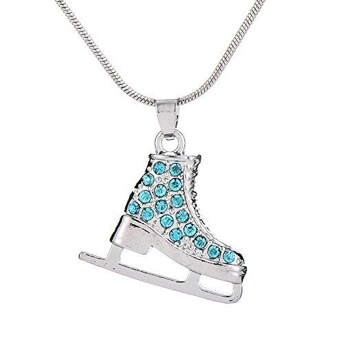 Collana con ciondolo a forma di pattinaggio in 3D, con cristalli turchese, idea regalo per adolescenti e ragazze e donne