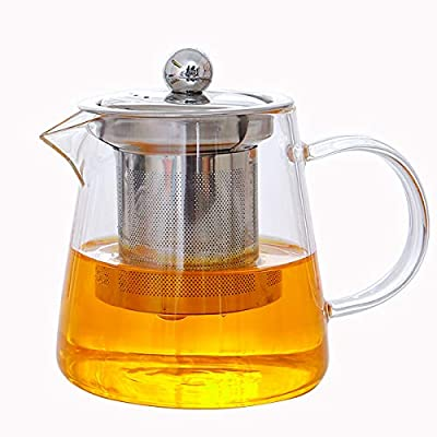 UFANME 15.2 oz (450ml) Glass Teapot with Removable Infuser, Stovetop Safe Tea Kettle
