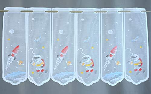 Clever-Kauf-24 Scheibengardine Rakete Astronaut Weltraum Höhe 60cm | Breite der Gardine frei wählbar in 15,5cm Schritten | Gardine | Panneaux |