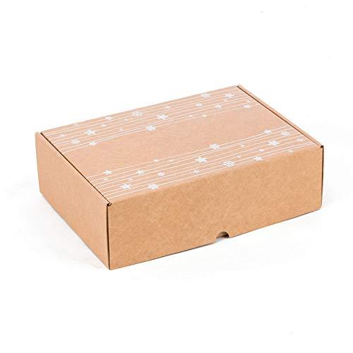 Kartox | Caja con estampado de Navidad | Caja de Cartón Automontable |Caja para regalo 30 x 22 x 8 CM | 4 unidades