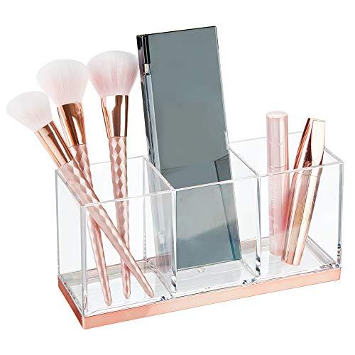 mDesign grande boite maquillage en plastique avec 3 compartiments – boite de rangement maquillage – organisateur maquillage de forme rectangulaire – transparent/couleur or rouge