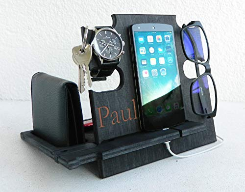 Gift for Him, Personalized Gift, Docking Station, Charging Station, Phone Dock, Cell Phone Stand, Desk Organizer, Engraved Docking Station