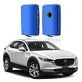 SHAOHAO Carcasa para llave de coche de silicona TPU para Mazda3 CX-30 CX-5 CX-8, color azul