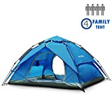 NACATIN 3-4 Person Family Camping Tent,Automatic Instant Pop Up Waterproof PU3000mm 210D Oxford Material Family-Sized...