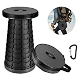 KOGNITA Portable Folding Camping Stool - Lightweight Plastic Retractable Stool with Montaineering Buckle,Collapsible Telescoping Seat for BBQ Fishing Hiking Traveling Max Load 287lbs (Gray)
