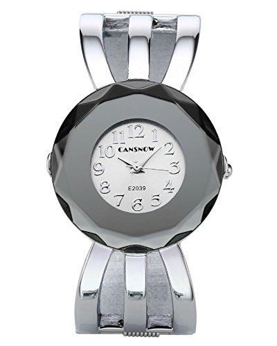 JSDDE Uhren,Damen Armbanduhr Chic Manschette Damenuhr Spangenuhr Hohl Band Armreif Armkette Uhr Quarzuhr,Silber