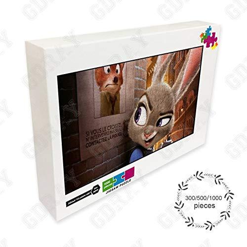 Judy Hops Animation Cartoon Movie 300/500/1000 PCS rompecabezas para adultos, adolescentes, niños, juego de bricolaje intelectual educativo