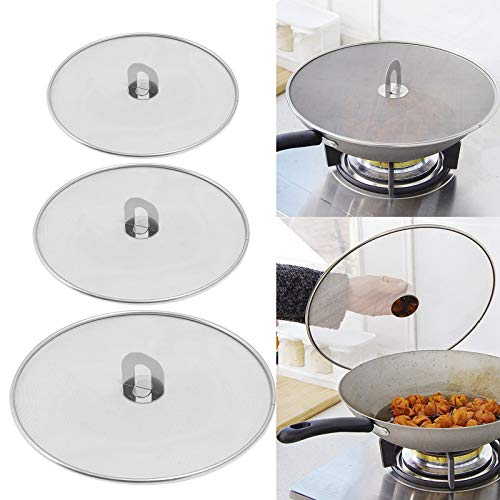 3 Pieces Grease Splatter Screen Splatter Screen for Cooking Pan Fine Mesh Stops Stove Oil Guard Skillet Lid Heavy Duty Fine Mesh Stainless Steel Guard from Hot Oil Splash (10'+11.5'+13')