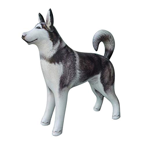 Jet Creations Inflatable Husky Dog Alaskan Pet Animal 32 inch Long for Party Decoration Gift Stuffed Animals Pool Toy an-Husky, Multi