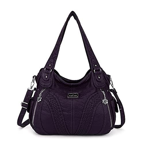 Angelkiss Women Top Handle Satchel Handbags Shoulder Bag Messenger Tote Washed Leather...