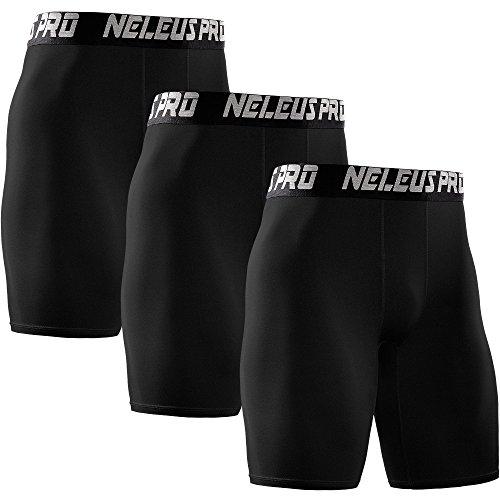 Neleus Men's 3 Pack Athletic Compression Short,6028,Black,US L,EU XL