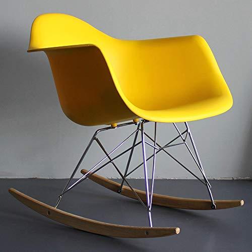 MYS-Bar stool C-K-P Lounge Sessel, nordischen Stil Schaukelstuhl nach Hause Balkon Lounge Sessel faul Couch Sessel Designer Stuhl Lounge Sessel weiß Lazy Chair (Farbe : Gelb)