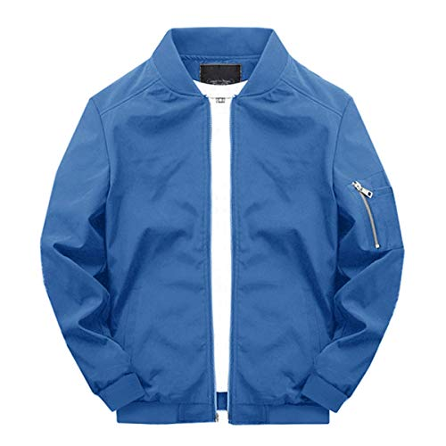 TOTNMC Men's Athletic Jacket Loose Fit Casual Bomber Jacket Long Sleeve Windbreaker Coat Blue