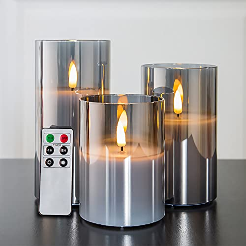 """Eywamage Gray Glass Flameless Candles with Remote, Flickering LED Battery Candles 3 Pack for Home Seasonal Decor Gifts, D 3"""" H 4"""" 5"""" 6"""""""