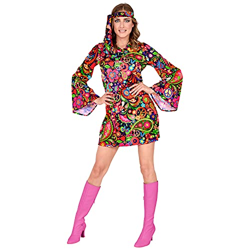 Invalid EAN 29301 Widmann 29301-Erwachsenenkostüm Hippie, Blumenkleid und Stirnband, Flower Power, 70s, Mottoparty, Karneval, Damen, Mehrfarbig,...