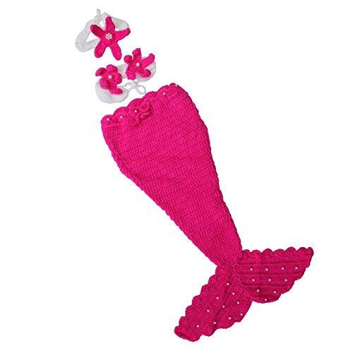 DAYAN Handmade Chapeau bébé né bébé infantile Beanie crochet tricot Props bande dessinée Sirène rouge mignon Costume Set Photographie 0-5 mois Couleur rose rouge