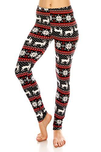 ALWAYS Leggings Women Nordic Christmas - Printed Snowflake Reindeer Winter Premium Buttery Soft Stretch Pants Regular