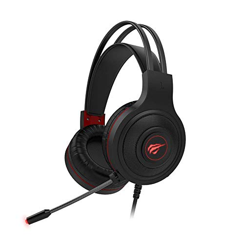 (Renewed) havit H2011d Wired Gaming Headset with Boom Mic, Red LED Light and 3D Surround Sound for PC, Laptop, PS4, Xbox, Switch