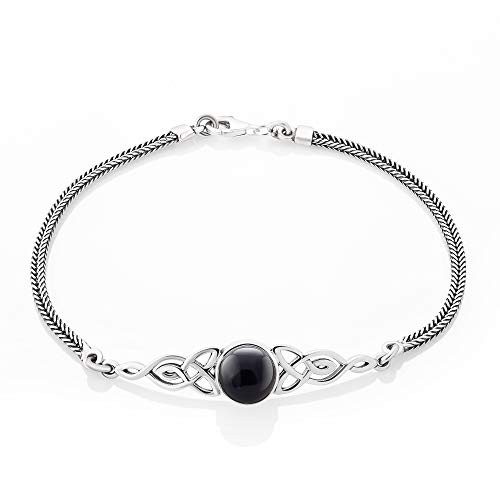 SUVANI Sterling Silver Black Onyx Celtic Trinity Knot Triquetra Triskelion Charm Bracelet 8''