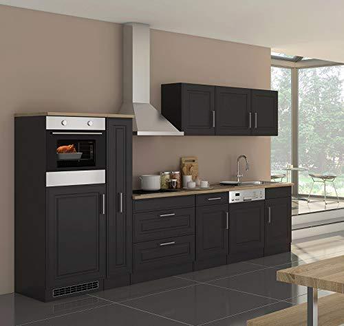 lifestyle4living Küche mit Elektrogeräten 330cm | Landhausküche Küchenzeile Küchenblock Einbauküche E-Geräte | Grau/Graphit