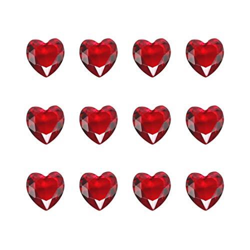 Supvox Diamant Vase Füllstoffe Glas Rubin Herz Edelstein DIY Handwerk Stein Perlen Liefert für Valentinstag Hochzeit Brautdusche Geburtstagsdekor (Rot) 10 Stücke