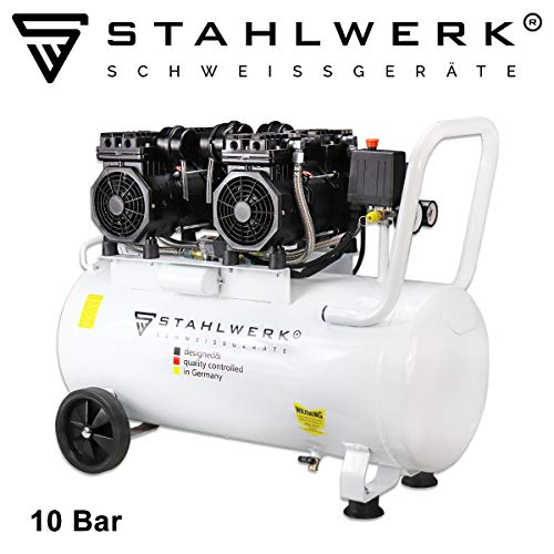 STAHLWERK Druckluft Flüsterkompressor ST 510 pro - 50 L Kessel, 10 Bar, ölfrei, sehr leise, sehr kompakt, weiß, 7 Jahre Herstellergarantie