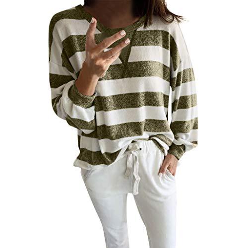 JJsmile Grande Taille T-Shirt Femme Grande Taille Chic à Rayures Imprimé Chemise Vintage Manches Longues T-Shirt Casual Confortable Hauts Col O Mode Printemps Automne Rue L'école Quotidien