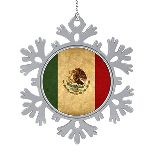 BUN T Mexico Grunge Flag Personalized Christmas Snowflake Ornaments Alloy Xmas Tree Hanging Decorations
