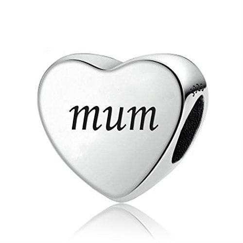 Amatolove Jewellery Love Mum Gifts from Daughter,Mum You Raise Me Up Heart Charm 925 Sterling Silver Charms for Bracelets,Mother Gifts from Son