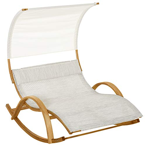 Outsunny Doppelliege Sonnenliege Schaukelliege Relaxliege mit Dach Lärche Grau+Weiß 190 x 135 x 185 cm