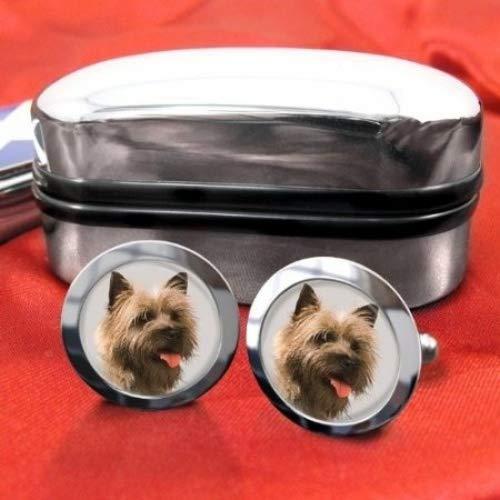 Cairn terrier Hommes Boutons de manchettes avec CHROME emballage cadeau