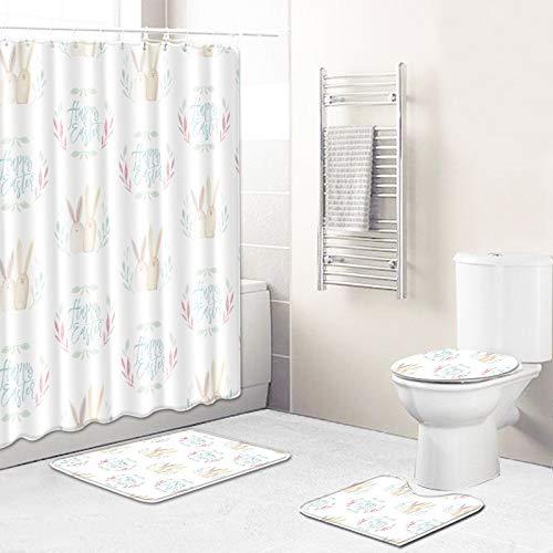 WEIFENG Außenhandel Fantasie Blumen Bad WC vierteilige Set Wohnzimmer Boden Schlafzimmer Teppich Fußmatte 13 50 * 80 cm + 180 * 180 cm