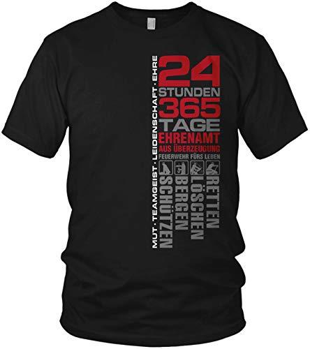 Feuerwehr - 24 Stunden 365 Tage Retten, Löschen, Bergen, Schützen 112 - Ehrenamt Freiwillige Feuerwehr Spruch Motiv - Herren T-Shirt und Männer Tshirt, Größe:XL, Farbe:Schwarz/Rot