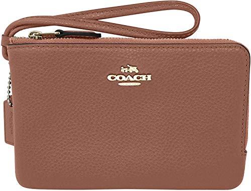 Coach Pebbled Leather Double Corner Zip Wristlet F87590 (Luggage)