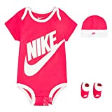 NIKE Children's Apparel Baby Hat, Bodysuit and Booties 3-Piece Gift Box Set, Pink Sportswear, 0/6M
