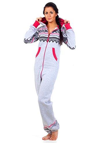 Loomiloo - Jumpsuit tuta multiuso tempolibero pigiama decorazione motivo norvegese grigio chiaro M/L