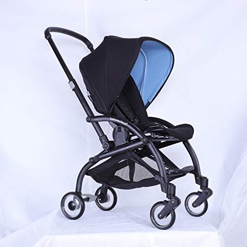 ZKK Cochecito de bebé a la moda, compatible con el cochecito ajustable en la cabina, tumbado y plegable para viajar, ir de compras y viajar. (Color: negro)