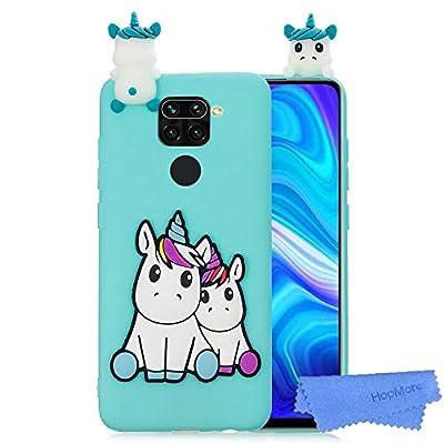 HopMore Funda para Xiaomi Redmi Note 9 Silicona Flexible Blando Divertidas Animal Carcasa Redmi Note 9 Dibujo 3D Soft Case Ultrafina Antigolpes Caso Protección Cover Gracioso - Grünes Einhorn