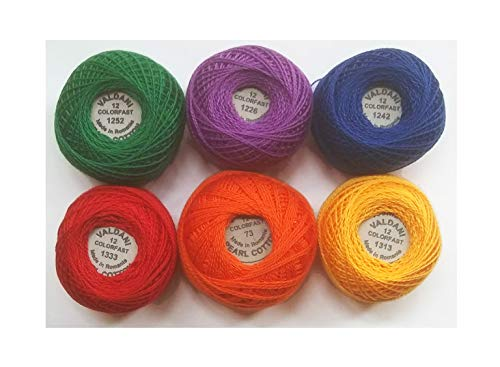 Valdani Perle Cotton Size ~12~ Embroidery Thread Sampler Set - 6 Colors, 109 Yards Each (Anthem - Bright Crayon Solids)