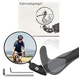 May-Kon Bike® Premium HD Bar End Fahrradspiegel Hochwertiger Rückspiegel 360° verstellbar Fahrradlenker Endspiegel Universalspiegel 17,4-22 mm für Mountainbike Rennräder E-Bike Schwarz